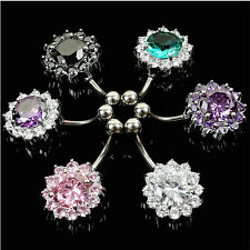 Crystal Flower Navel Belly Ring Steel Zircon Button Bar Body Piercing Jewelry