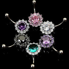 Body Crystal Flower Navel Belly Ring Steel Zircon Button Bar Piercing Jewelry