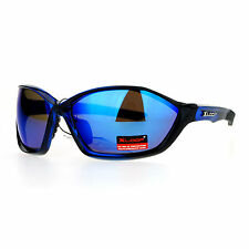 Xloop Mens Sports Sunglasses Oval Wrap Around Rubber End Mirror Lens UV 400