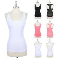 Scoop Neck Solid Front and Mesh Racerback Tank Top Sleeveless Athletic Gym S M L