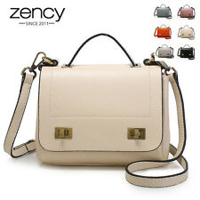 Metal Lock Genuine Leather Women Handbag Tote Clutch Shoulder Lady Messenger Bag