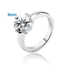 2.50ct Stainless Steel Solitaire Round Cubic Zirconia Promise Engagement Ring