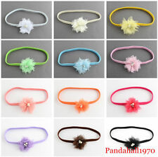 4pcs Lovely Elastic Cloth Flower Baby Girl Kid Headbands Hair Accessories 130mm