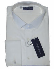 Ralph Lauren Purple Label Italy Mens French Cuff Solid White Dress Shirt New