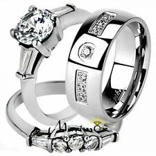 His & Her Stainless Steel Bridal Engagement Ring Set & Zirconia Wedding Band