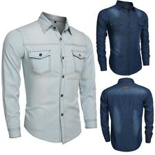 New Fashion Boy Men's Casual Button Denim Shirts Slim Fit Jeans Shirt Tops K0E1