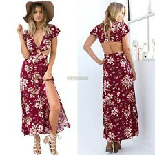 New Women Sexy Backless Floral Boho Evening Party Cocktail Split Long Maxi Dress