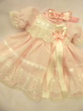 DREAM BABY GIRLS PINK CREAM HEARTS DRESS & HBD NB 0-3 OR 3-6 MONTHS