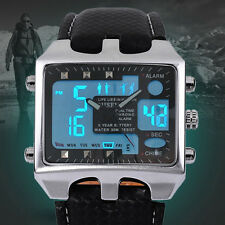 OHSEN Digital LCD Lamp Analog Dual Time Mens Army Sport Wrist Watch 4 Colors New