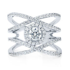 BERRICLE Sterling Silver CZ Criss Cross Fashion Right Hand Cocktail Ring
