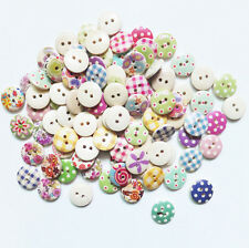 100pcs 15mm Mixed Round Pattern 2 Holes Wood Buttons Sewing Scrapbooking New Q
