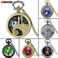 Silver The Nightmare Before Christmas Vintage Pocket Watch Chain Quartz Necklace