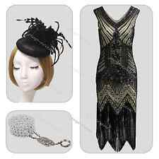 Gatsby Downton Abbey 1920s Flapper Dress Vintage Beaded 20s Fancy 1930s Costume