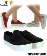 womens ladies new glitter pumps creepers flatform chunky slip on trainers shoes