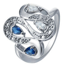 Fashion 18K White Gold Filled Pear Cut Stone Silver Ring Gift for Women Wedding