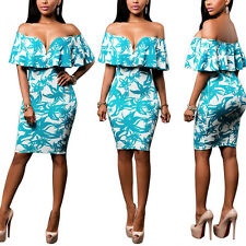 Women Sexy Slim Froral Print Off Shoulder Bodycon Mini Dress Party Evening Party