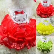 Pet Puppy Dog Bow Tutu Dress Cat Princess Skirt wedding Clothes Apparel mesh
