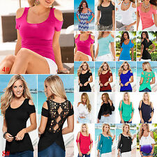 Sexy Womens Short Sleeve Lace Shirt Cold Shoulder Casual Blouse Vest Tank Top