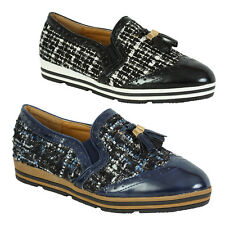 Womens Flat Casual Slip On Pumps Pointed Toe Loafers Low Block Heel Court Shoes