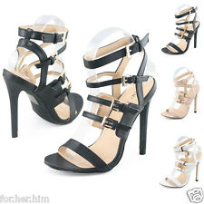 New Womens High Heels Strappy Sandals Open Toes Smart Office Party Buckle Shoes