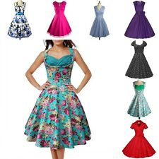 Women Vintage Retro 50s Hepburn Swing Pleated Pinup Evening Party Cocktail Dress