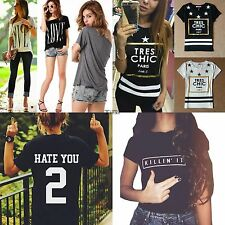 Fashion Women Short Sleeve LOVE Letter Print Basic Tee Shirt Tops Blouse T-Shirt