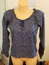 Ladies Womens Top Blouse Floral Patterned Blue Long Sleeve Summer indie Ethnic