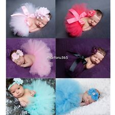 8 Colors Newborn Baby Girl Headband +Tutu Skirt Costume Photo Photography Prop