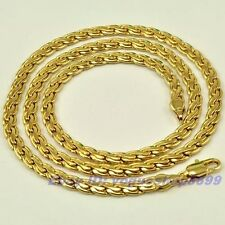 """20""""5mm22g REAL RARE 18K YELLOW GOLD GP NECKLACE SOLID GEP CHAIN,1-3pcs Wholesale"""