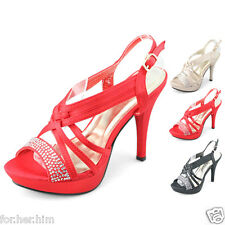Womens High Heels Ankle Straps Sandals Wedding Prom Dress Strappy Platform Shoes