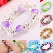1Strand Faceted AB Crystal Glass Ball Beads Stretchy Bracelet Bangle Wristband