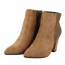 NEW WOMENS FAUX SUEDE ANKLE HIGH MID HEEL BOKER RIDING LADIES SHOES BOOTS SIZE