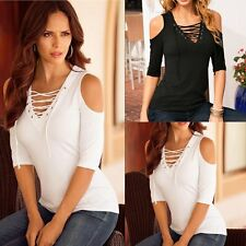 Fashion Women Lady Sexy Off Shoulder Casual Short Sleeve Slim T-Shirt Top Blouse
