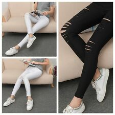 Vogue Women Girls Skinny Leggings Stretchy Slim Hole Ripped Leggings Tight Pants