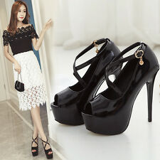 Sexy Platform High Heels Buckle Strap Women Shoes Stilettos Peep Toe Party Pumps
