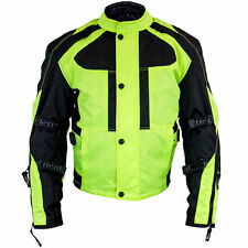 Xelement 'Momentum' Men's Black/Neon Green Tri-Tex Armored Motorcycle Jacket