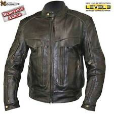 Retro Brown Bandit Buffalo Leather Cruiser Motorcycle Jacket with Level-3 Armor