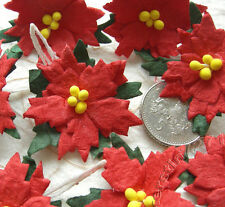 Handmade Mulberry Paper Christmas Poinsettias x 12 Embellishments Toppers Cards