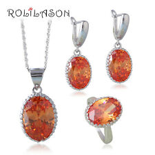JS650 Nobby Morganite Jewelry Set Silver Champagne Zircon Earrings Necklace Ring