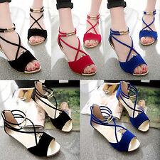 Summer Ladies Wedge Heel Beach Sandals Ankle Jelly Womens Casual Gladiator Shoes