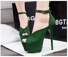 Platform Pumps Stilettos Peep-Toe Buckle Strap Club Party High Heels Women Shoes