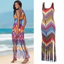 Boho Hippy Fashion Women Beach Casual Tassel Dress Bohemian Long Maxi Dresses