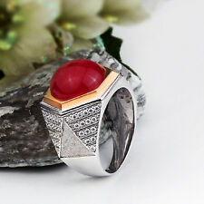 Ring Men's 925 K Sterling Silver Ring Red Agate Natural Gemstone 9-11 US sizes