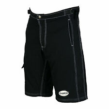 Zimco Ultra Comfort MTB Bike Baggy Shorts Lycra Padded Liner Blk White Seams