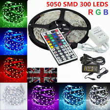 Waterproof 5M 10M 5050 SMD RGB 300 Led Strip Flexible Light 12V Remote Adapter