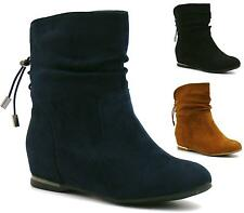 WOMENS LADIES FLAT SLOUCH LOW HEEL WEDGE ANKLE BOOTS SHOES PIXIE CASUAL SIZE NEW