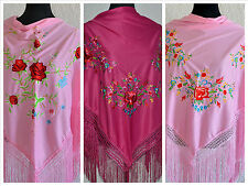 "Pink Spanish flamenco shawls with multicoloured floral embroidery 66"" x 39"""