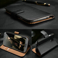 Original Genuine Real Leather Flip Case Wallet Cover For Samsung Apple Huawei LG