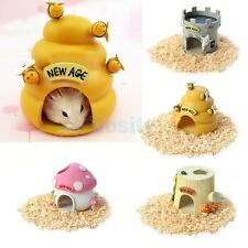 Cute Resin House Hiding Cave Cabin Nest Bed For Hamster Rat Small Animal Pet