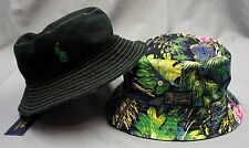 NWT $55 POLO RALPH LAUREN BUCKET HAT CAP Mens Tropical Flamingo REVERSIBLE New